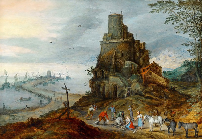 A Coastal Landscape with Fishermen with their Catch by a Ruined Tower. Jan Brueghel The Elder