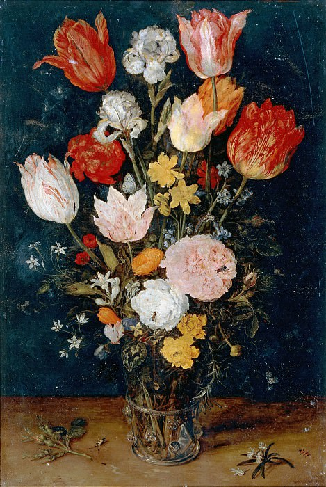 Flowers in a Glass. Jan Brueghel The Elder
