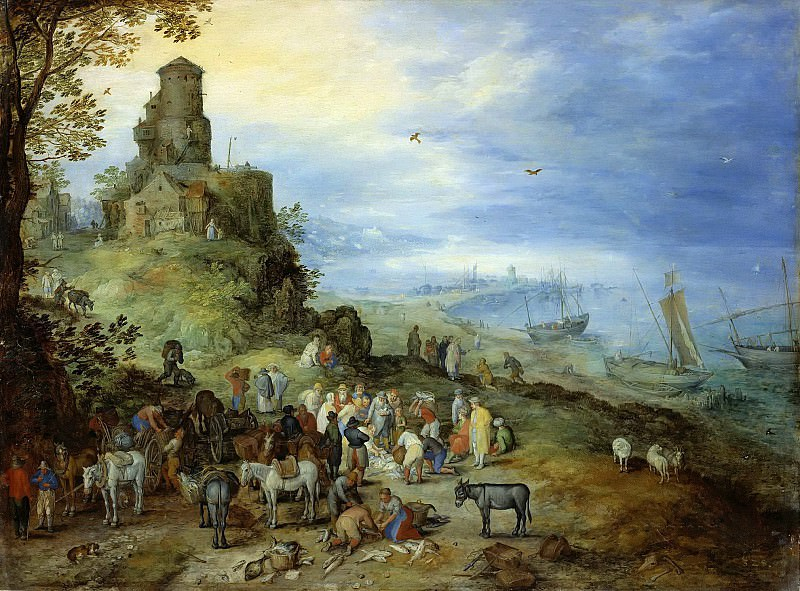 Coastal Landscape with the Calling of St. Peter and Andrew. Jan Brueghel The Elder