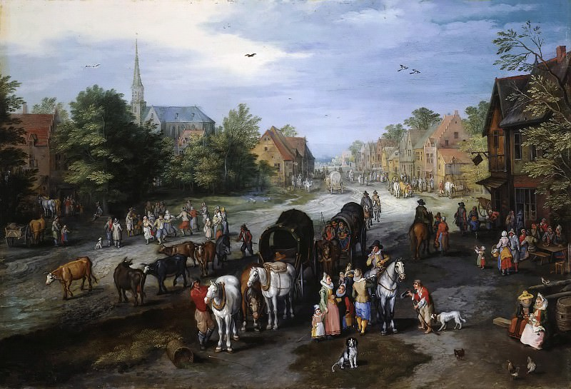 View of the Village of Schelle (Village street). Jan Brueghel The Elder
