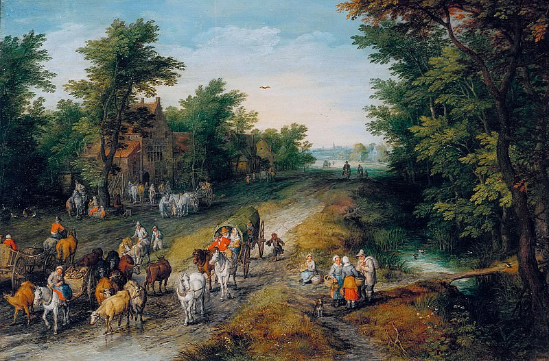 Landscape with Travellers and Inn. Jan Brueghel The Elder