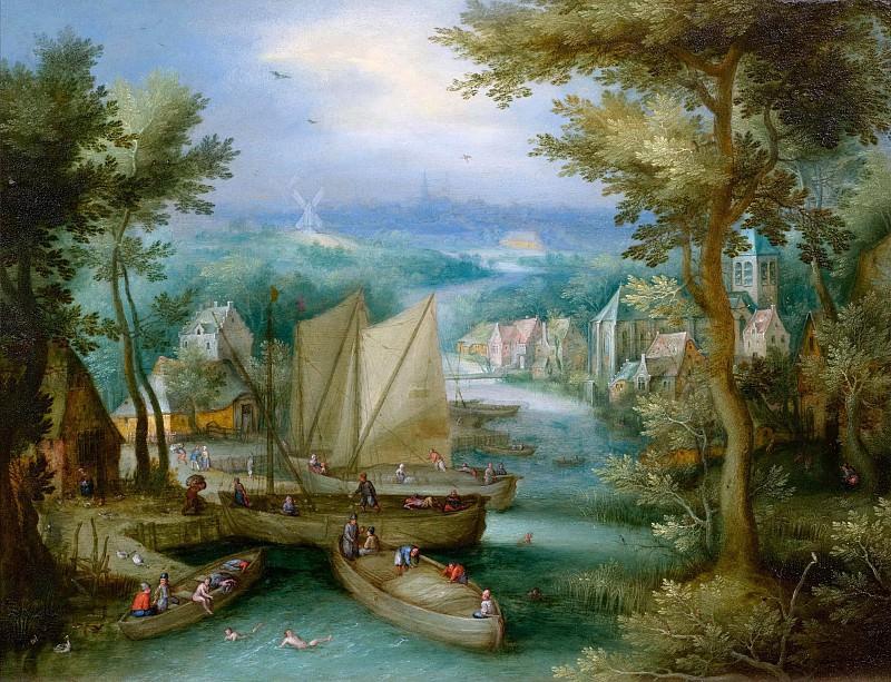 River landscape with bathers. Jan Brueghel The Elder