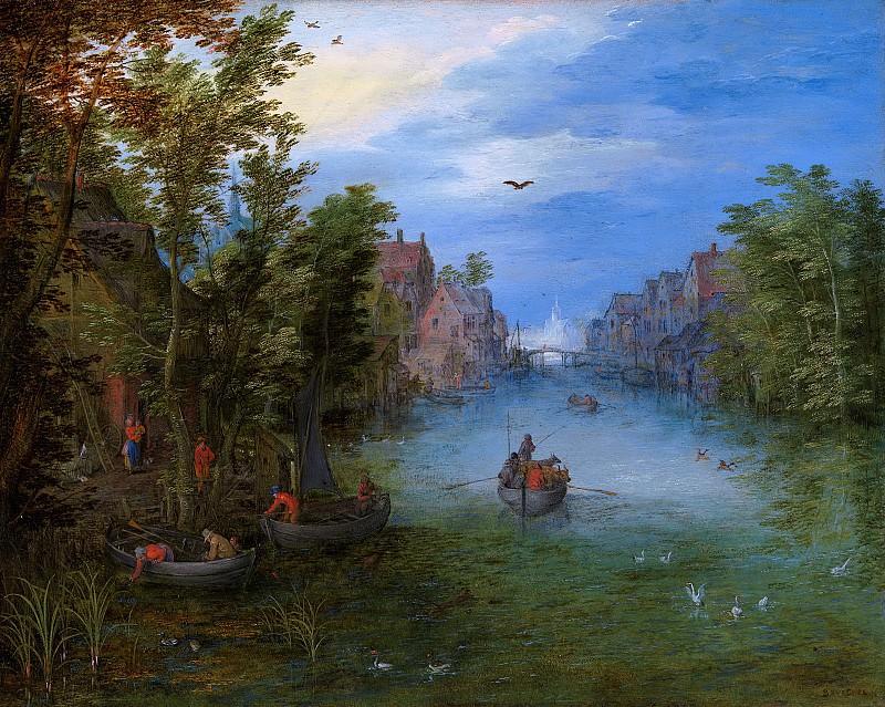 A river running through a village. Jan Brueghel The Elder