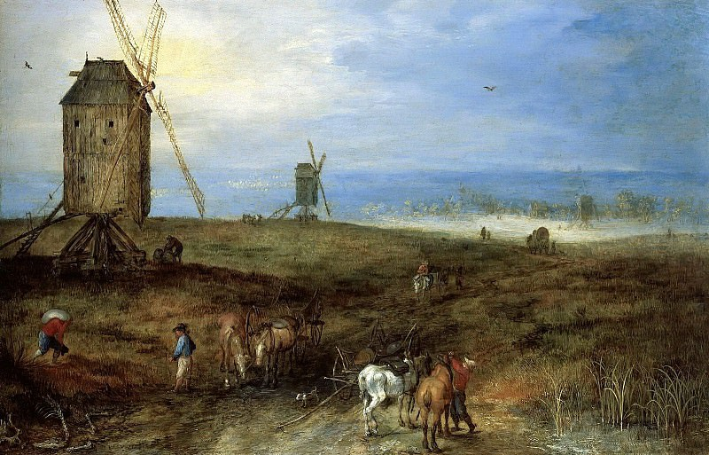 LANDSCAPE WITH TRAVELLERS BEFORE A WINDMILL. Jan Brueghel The Elder