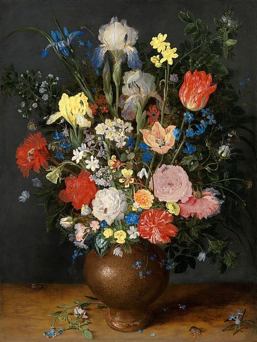 A still life with flowers in a stoneware vase. Jan Brueghel The Elder