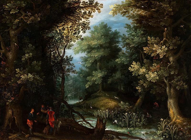 Охотники с гончими у лесного пруда. Ян Брейгель Старший