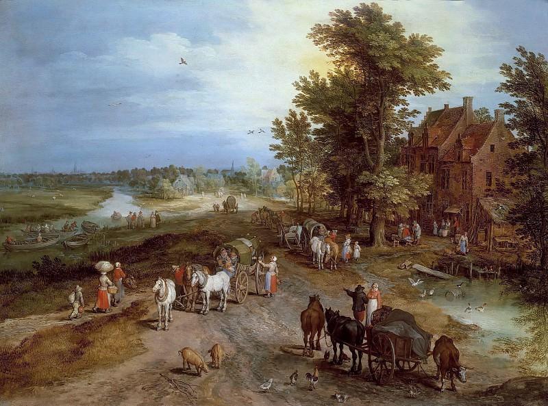 Landscape with village tavern. Jan Brueghel The Elder