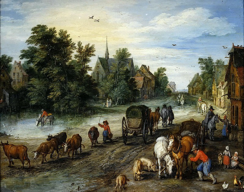 Village Street with Resting Travelers. Jan Brueghel The Elder