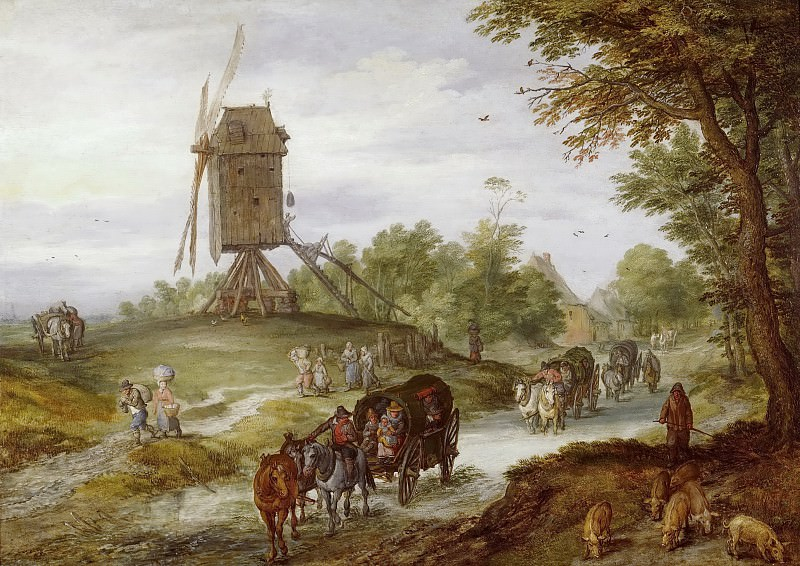 Landscape with Flooded Road and Windmill. Jan Brueghel The Elder