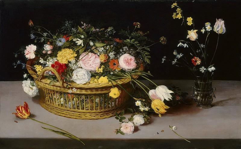 Flowers in a Basket and a Vase. Jan Brueghel The Elder
