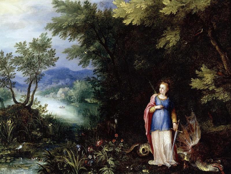 Пейзаж со святой Маргаритой и драконом. Ян Брейгель Старший