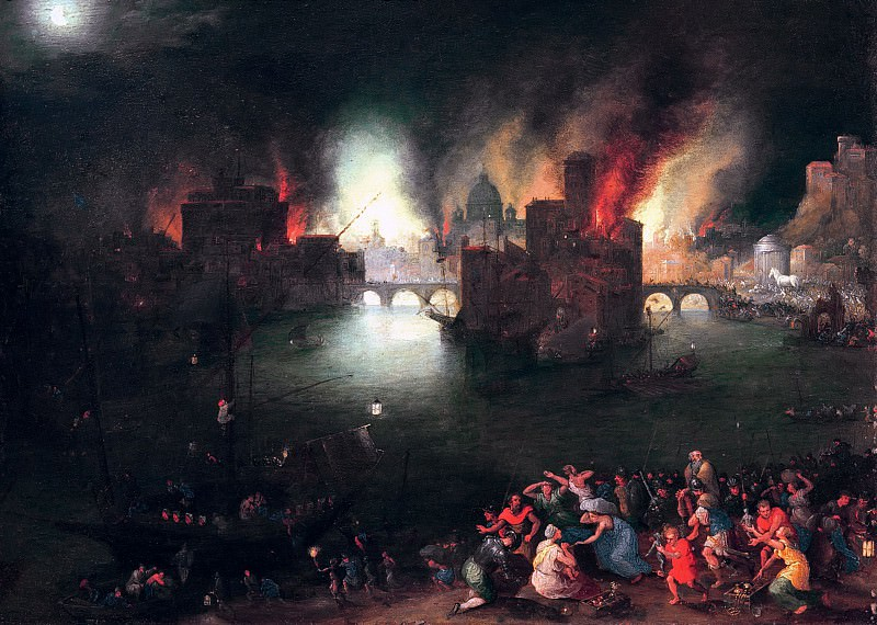 Aeneas carries his father Anchises from the burning Troy. Jan Brueghel The Elder