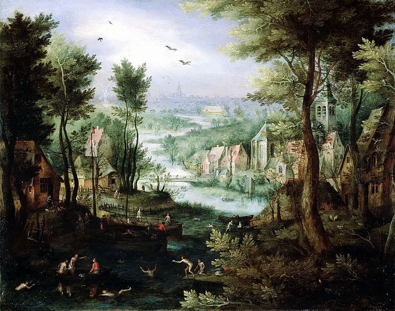 River Landscape With Bathing Figures And Boats. Jan Brueghel The Elder