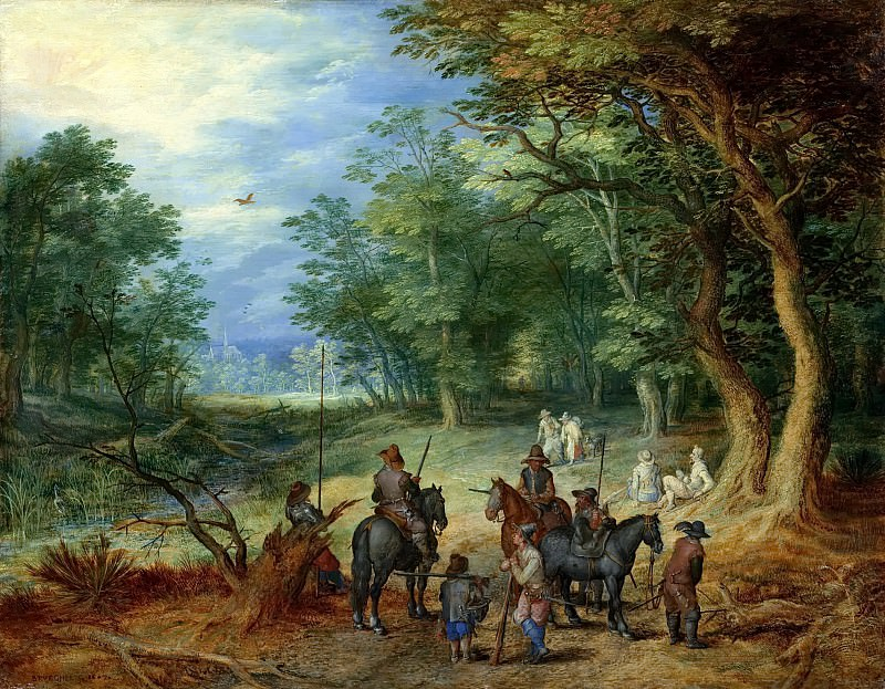 The guards in the forest. Jan Brueghel The Elder