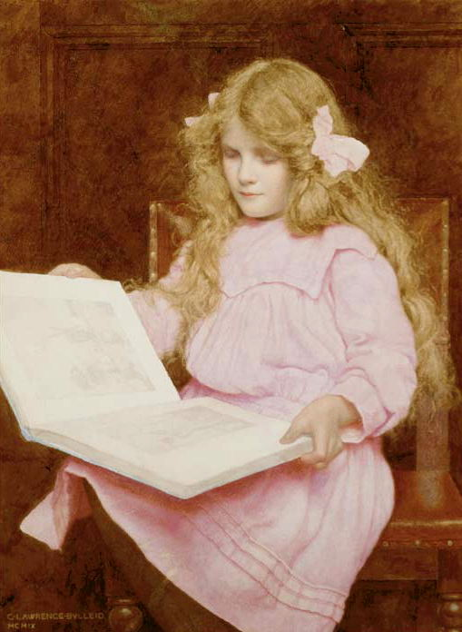 A young girl reading a book, seated in an interior. George Lawrence Bulleid