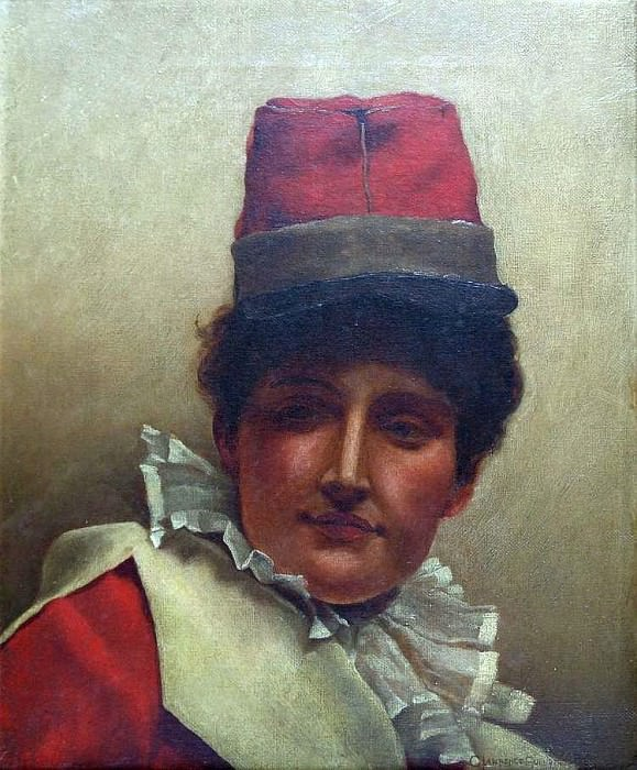 study of a lady clown wearing a tall hat and ruff to her neck. George Lawrence Bulleid