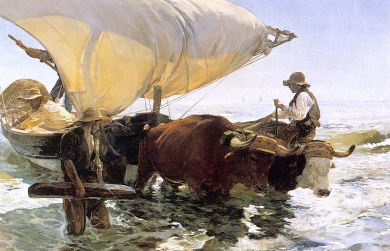 Лодка, возвращающаяся с ловли рыбы. Хоакин Соролья-и-Бастида