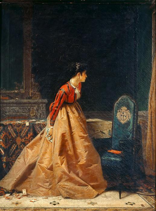 Игра в карты, или Интерьер с женской фигурой. Антонио Барцаги-Каттанео