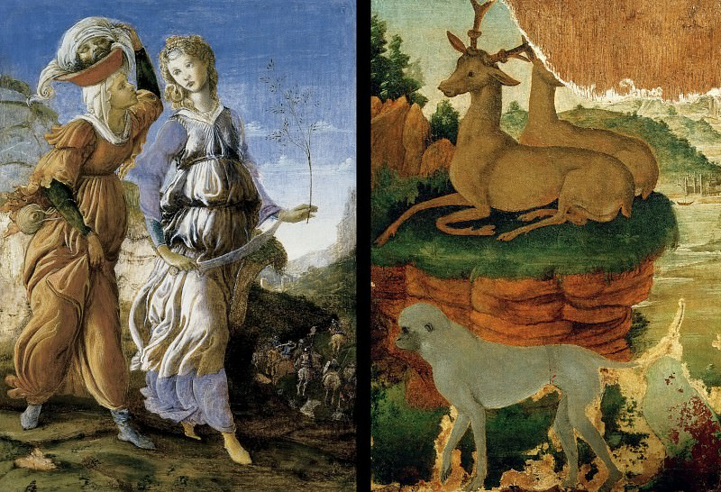 The Return of Judith (verso) and Landscape with roe deer and monkeys (recto). Alessandro Botticelli