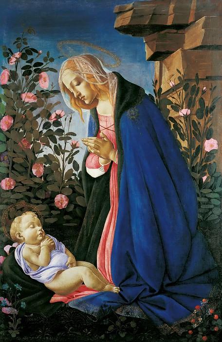 Мадонна, поклоняющаяся спящему Младенцу Христу. Сандро Боттичелли