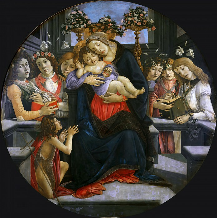 Virgin and Child with Six Angels and the Baptist. Alessandro Botticelli