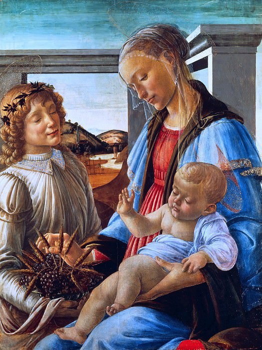 Madonna and Child with an Angel (Madonna dell'Eucarestia). Alessandro Botticelli