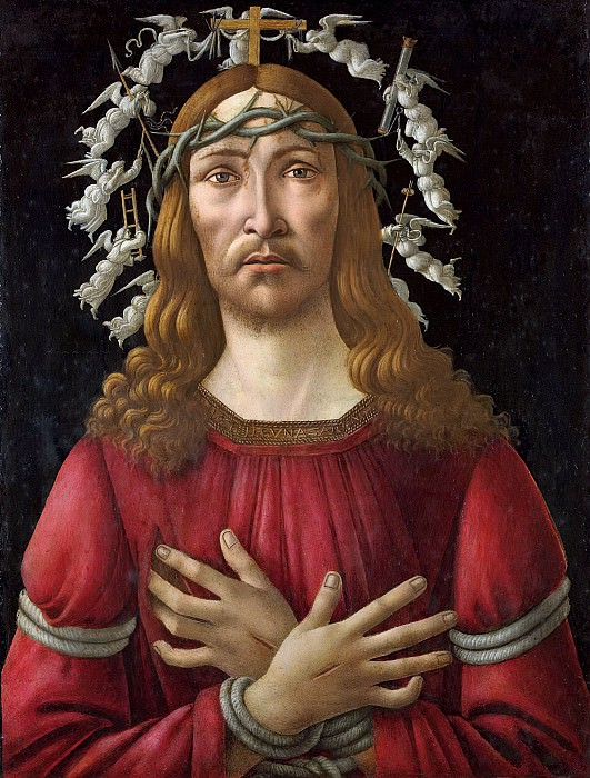 Christ as the man of sorrows with a halo of angels. Alessandro Botticelli