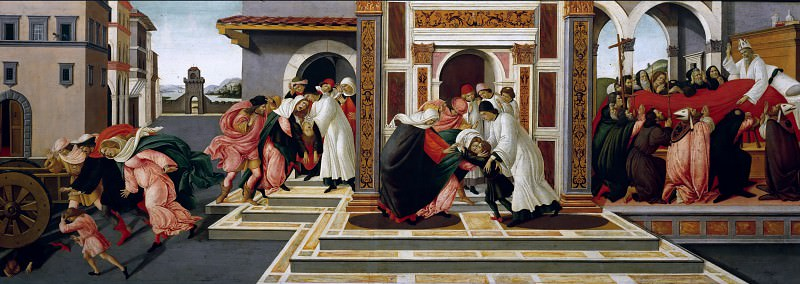 Scenes from the Life of Saint Zenobius - Last Miracle and the Death of St. Zenobius. Alessandro Botticelli