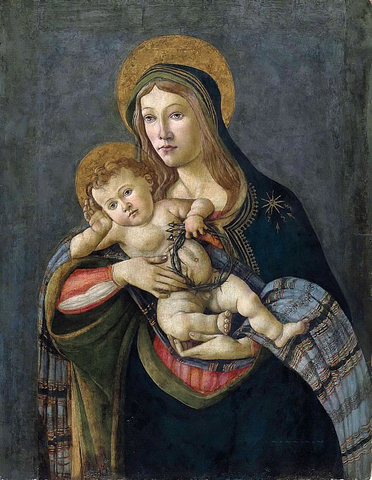 The Madonna and Child with the Crown of Thorns and three nails. Alessandro Botticelli