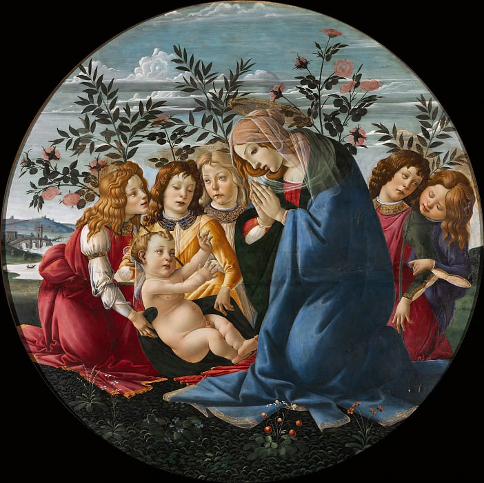 Madonna Adoring the Child with Five Angels (and Studio). Alessandro Botticelli