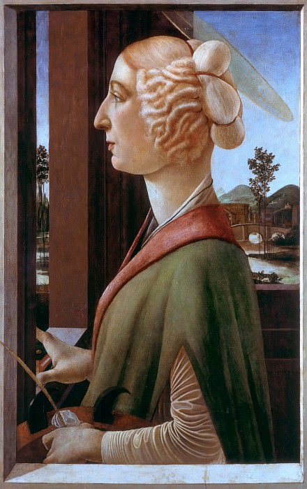 Saint Catherine (Portrait of Caterina Sforza as Saint Catherine?). Alessandro Botticelli