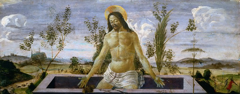 San Barnabas Altarpiece, predella - Christ in the Sepulchre. Alessandro Botticelli