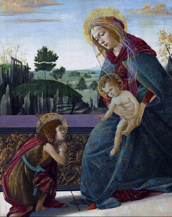 The Rockefeller Madonna (Madonna and Child with Young Saint John the Baptist). Alessandro Botticelli