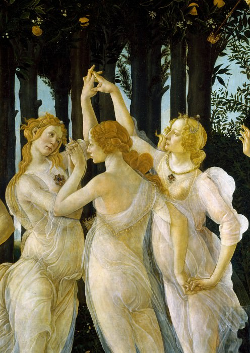 Primavera (detail - Three Graces). Alessandro Botticelli