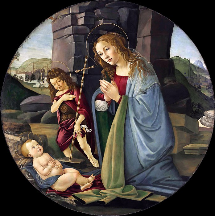 The Madonna adoring the Christ Child with the young Saint John the Baptist. Alessandro Botticelli