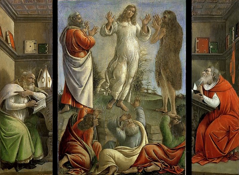 Triptych showing the Transfiguration with Saints Jerome and Augustine. Alessandro Botticelli