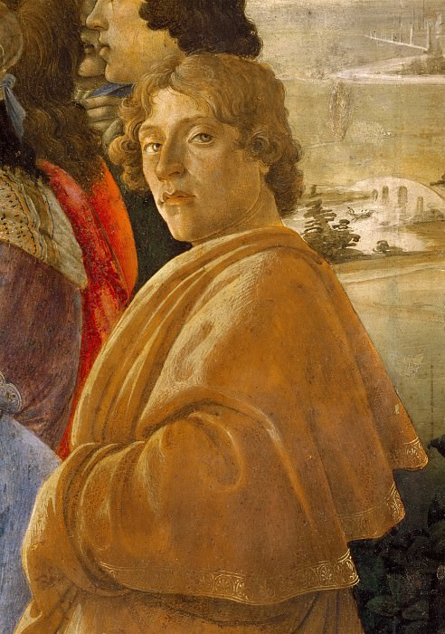 The Adoration of the Magi (detail - self-portrait). Alessandro Botticelli