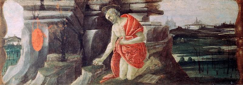 Коронование Девы Марии, пределла - Покаяние cвятого Иеронима. Сандро Боттичелли