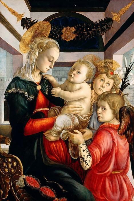 Мадонна с младенцем и ангелами (атр.). Сандро Боттичелли