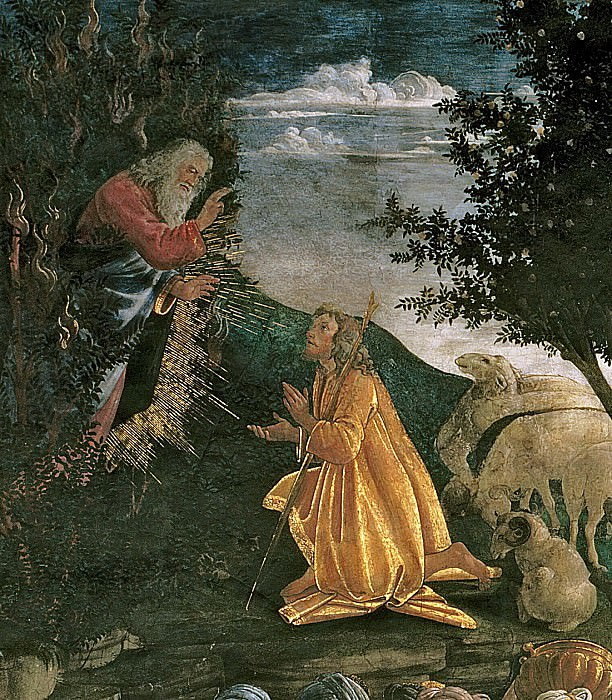 Scenes from the Life of Moses detail. Alessandro Botticelli