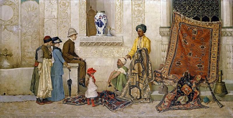 Persian carpet dealers on the street. Osman Hamdi Bey