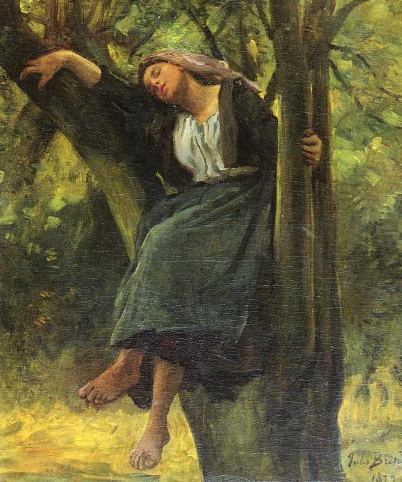 Asleep In The Woods SnD 1877 O C 61.6 by 50.8 cm. Jules Breton