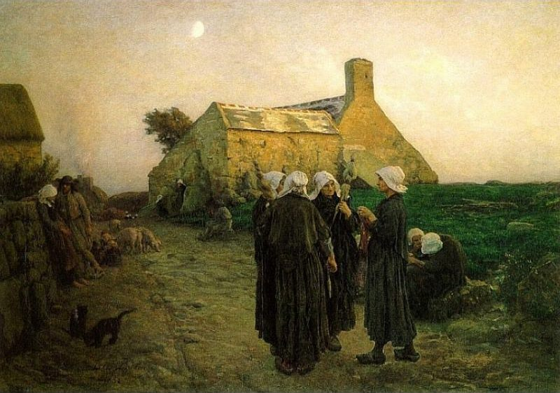 Evening in the Hamlet of Finistere. Jules Breton