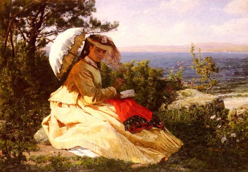 Женщина с зонтом. Жюль Бретон