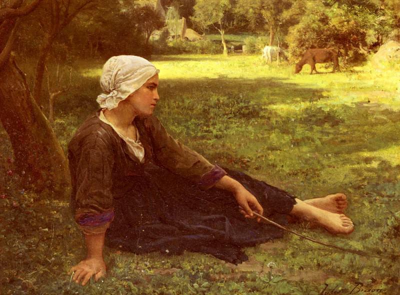 Juene Fille Gardant Des Vaches. Jules Breton