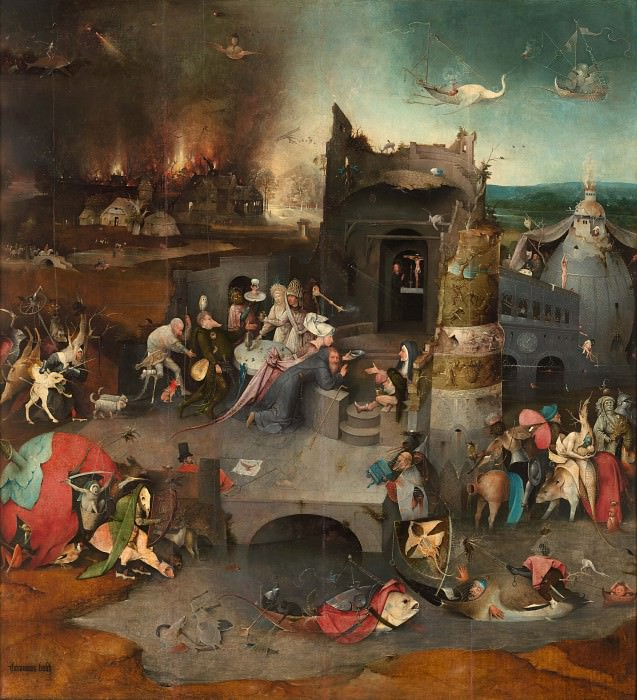 Temptation of St. Anthony, central panel of the triptych. Hieronymus Bosch