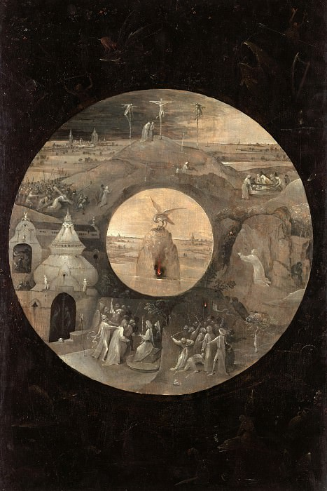 Saint John on Patmos (reverse side - Scenes from the Passion of Christ and the Pelican with Her Young). Hieronymus Bosch