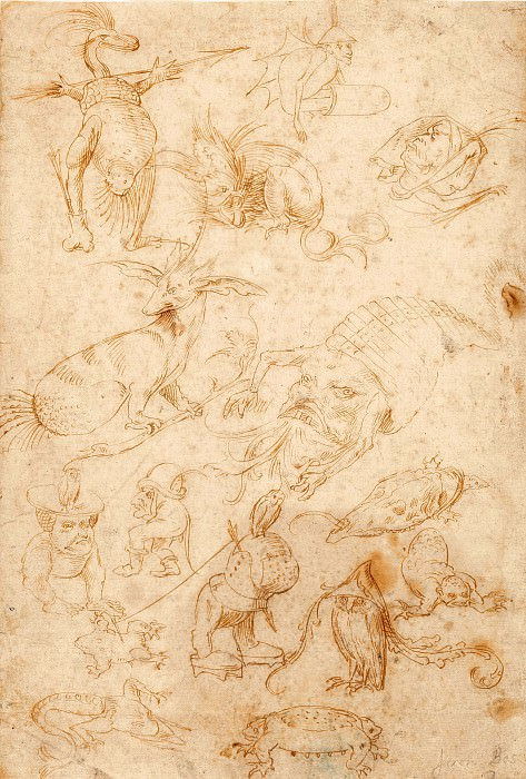 Sketch sheet with monsters. Hieronymus Bosch
