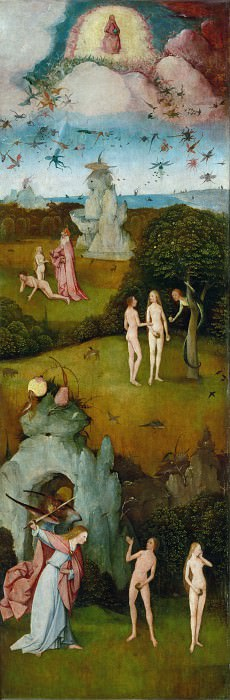 The Haywain, left wing - Paradise. Hieronymus Bosch