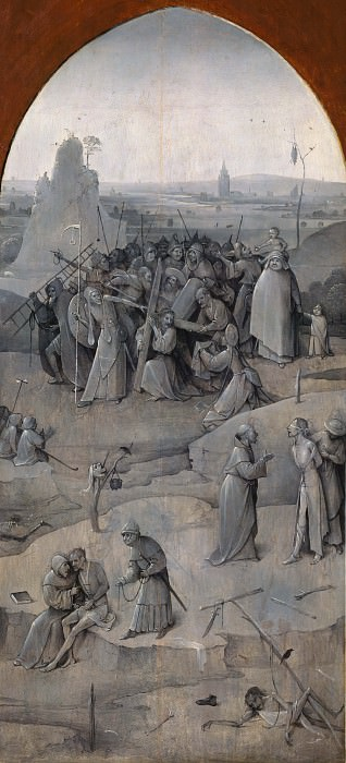 Temptation of St. Anthony, outer wings of the triptych - Carrying the cross. Hieronymus Bosch